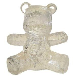 Vintage Clear Art Glass Bear with Scarf Figurine